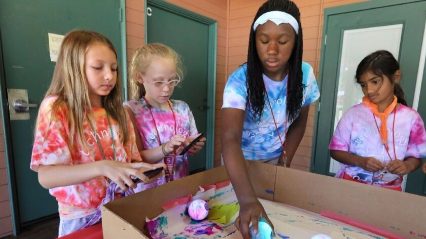 """August 4, 2017_Escondido, California At the Girls Scouts """"Technology Goddess"""" camp at Kit Carson Par"""