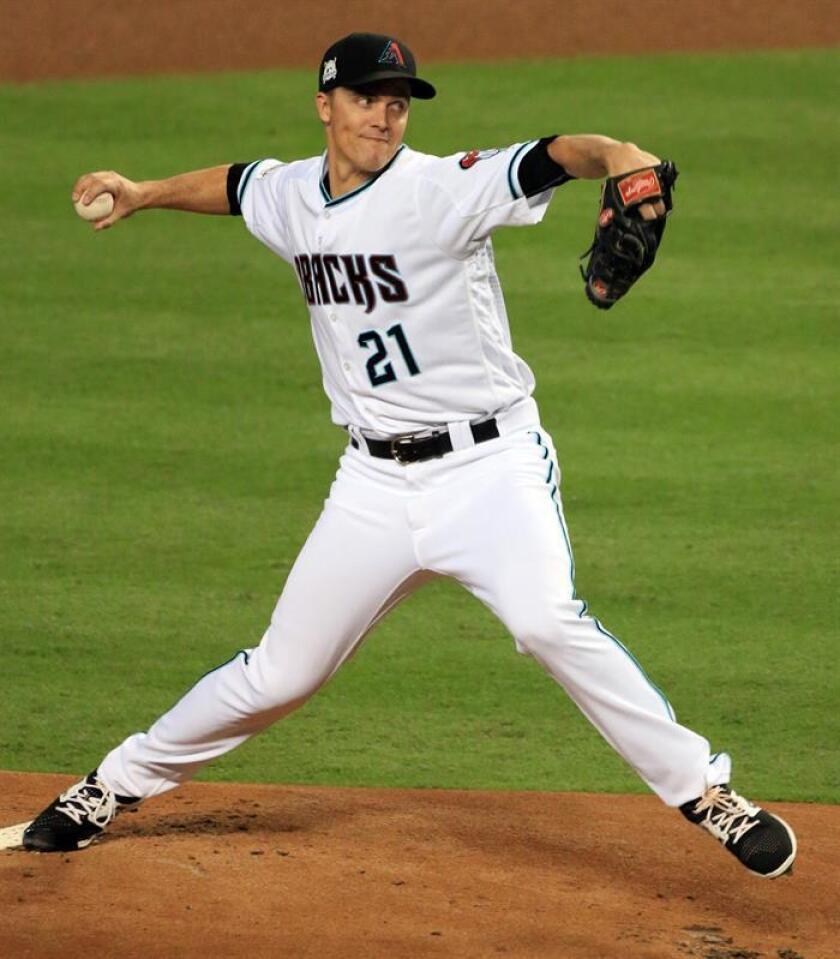 En la imagen, el jugador de los Diamondbacks de Arizona Zack Greinke. EFE/Archivo