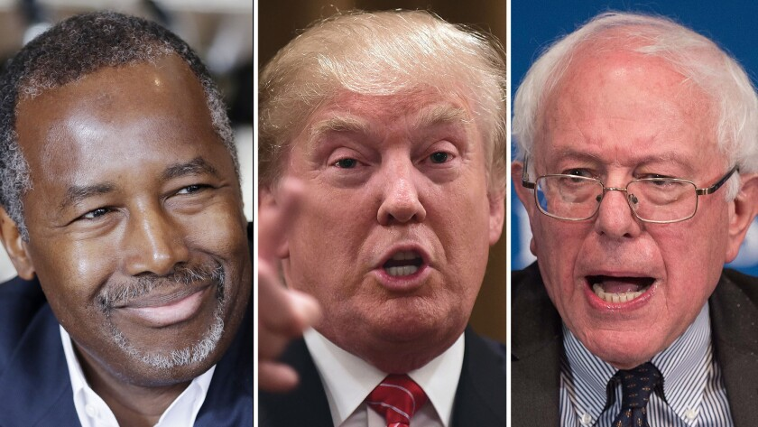 Republican presidential candidates Ben Carson, Donald Trump and Bernie Sanders.