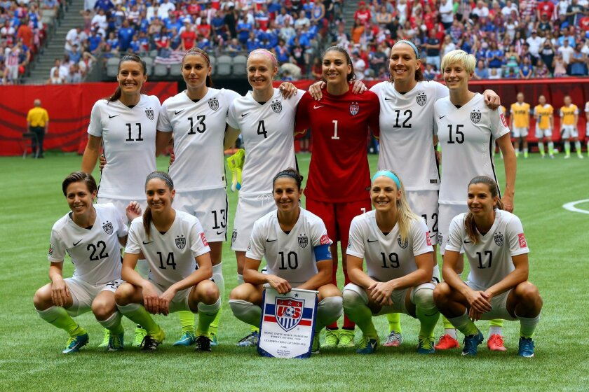The United States poses for a team photo before taking on Japan in the FIFA Women's World Cup Canada 2015 Final at BC Place Stadium on July 5, 2015 in Vancouver, Canada.