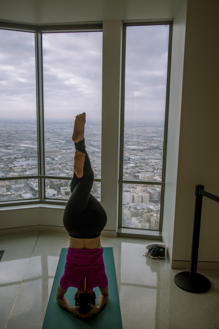 The Coolest Place To Do Yoga In L A Is 70 Floors Above It Los Angeles Times