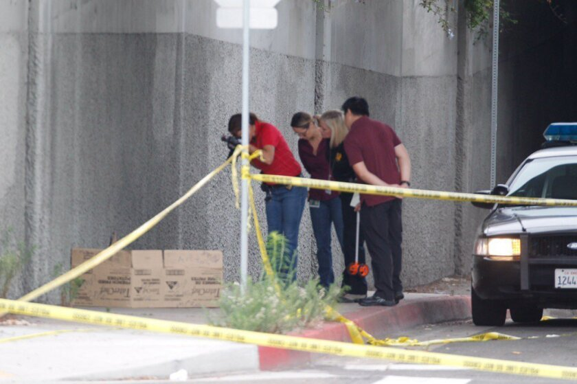 San Diego police investigators at the site under a freeway bridge  in downtown San Diego where a homeless man was attacked Friday, July 15, 2016.