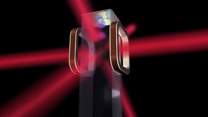 An illustration shows how NASA's Cold Atom Laboratory will use lasers to chill rubidium and potassium to extremely low temperatures.