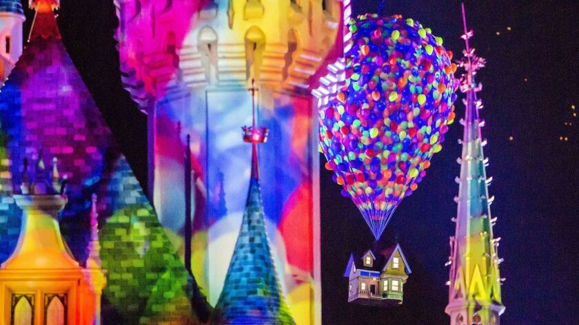 """As part of its summerlong Pixar Fest, Disneyland Resort on Friday has debuted """"Together Forever:A Pixar Nighttime Spectacular,"""" a 15-minute fireworks, projections and musical spectacular at Disneyland Park."""