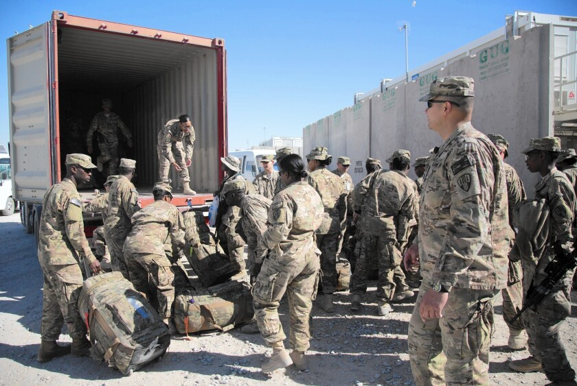 U.S. troops prepare to leave Kandahar airfield at the end of their tour in November.
