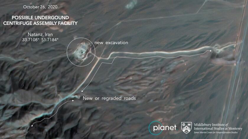 Satellite image of Iranian nuclear facility