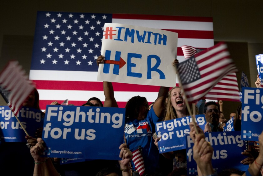Hillary Clinton supporters cheer her primary victory in Florida.