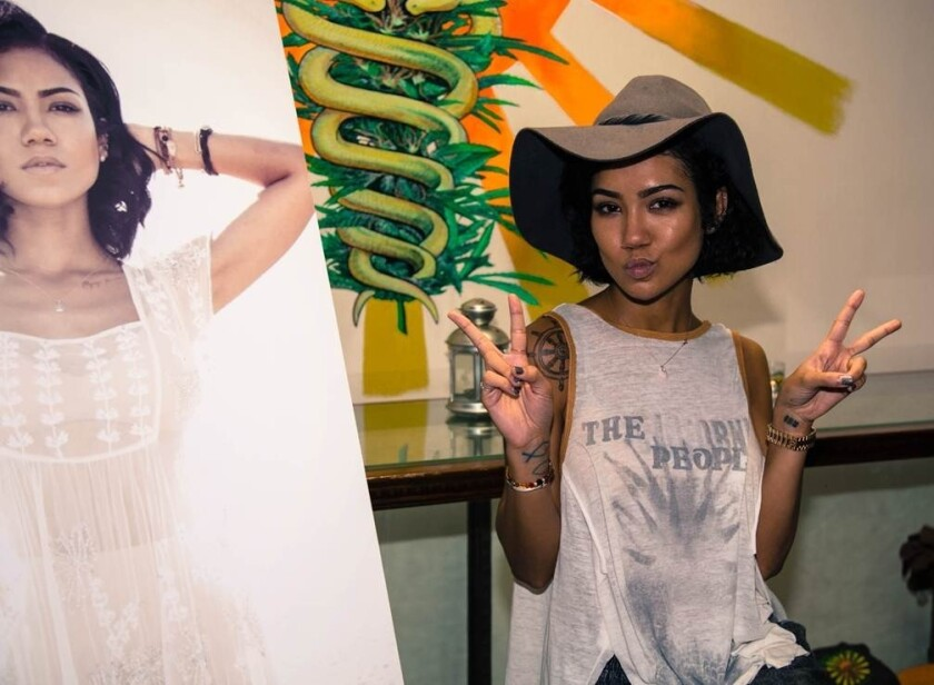 Jhené Aiko performs a surprise gig for fans at the Farmacy in West Hollywood on Tuesday.
