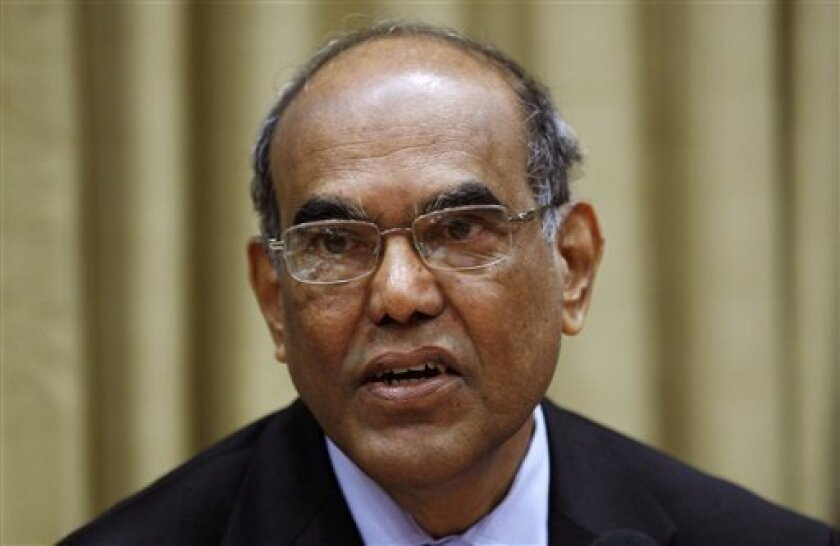 Reserve Bank of India (RBI) governor D. Subbarao attends a monetary policy review meeting in Mumbai, India, Friday, May 3, 2013. India's central bank cut a key interest rate by a quarter percentage point to 7.25 percent on Friday to try to revive stalled economic growth but warned persistent inflation leaves little room for more aggressive rate cuts in the future. (AP Photo/Rajanish Kakade)