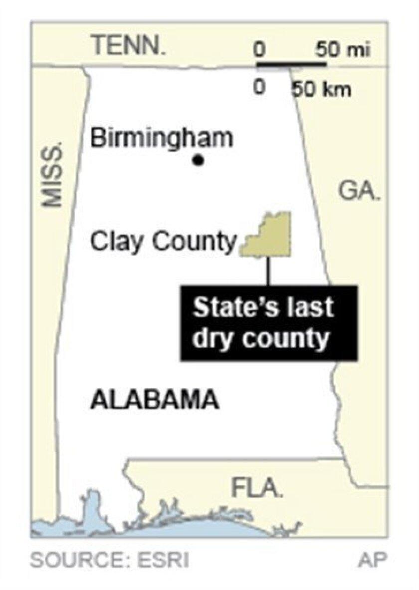 Map locates Clay County, Alabama's last dry county