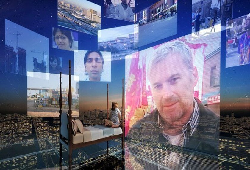 """The world is a swirl of electronic imagery and intimacy in """"Continuous  City,"""" whose stories explore technology's effects on how we relate to one  another. (dbox)"""