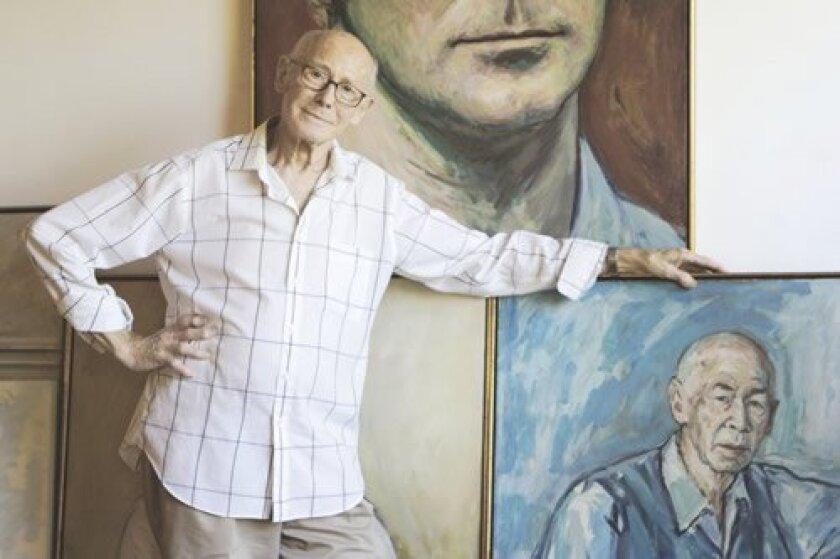 Kalman Aron in his studio with his portrait of Henry Miller. Elisabeth Caren