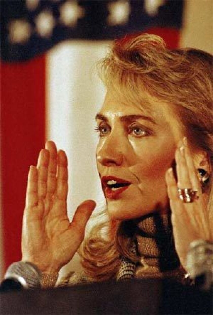 AGAINST SURPRISES: Clinton, seen here campaigning for her husband in 1992, pushed aides hard for thorough preparation.