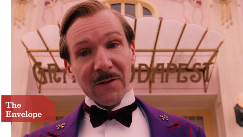 "Ralph Fiennes with his bow tie in ""The Grand Budapest Hotel"""