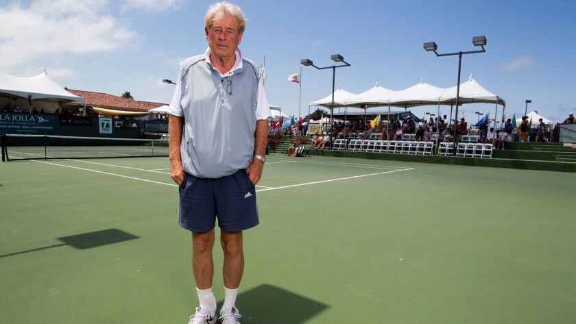Lornie Kuhle poses on stadium court at Barnes Tennis Center during the USTA Girls 16s & 18s Nationals.