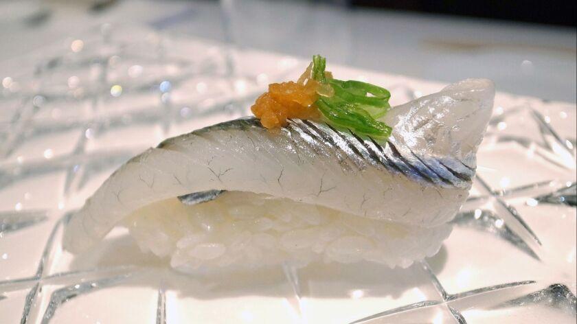 Yasu Beverly Hills' mackerel nigiri. Credit: Yasu