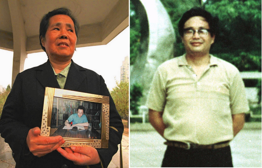 The mother of Chinese dissident Chen Ziming, Wen Yongfen, shown in 1995, holds a photo of her son. also seen at right in 1989. Chen spent 13 years behind bars or confined in his apartment after the Tiananmen Square protests. He died Tuesday at 62.