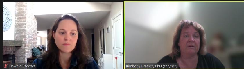 La Jollan Dawniel Carlock Stewart, left, and UC San Diego professor Kimberly Prather called for universal masking at schools