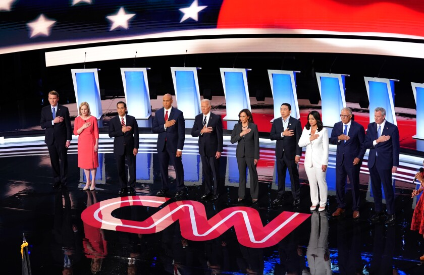 Ten Democratic presidential candidates take the stage before they debate in Detroit on July 31.