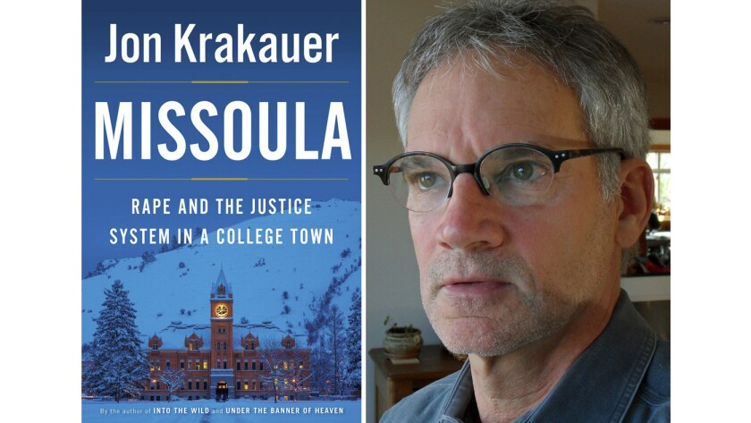 "Author Jon Krakauer and the cover of the book ""Missoula"""