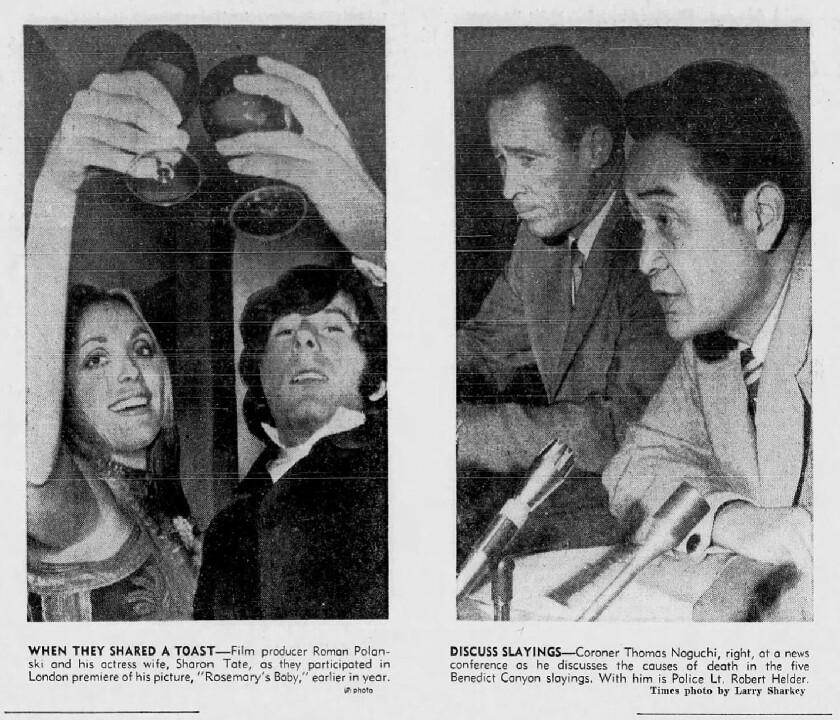 Roman Polanski and Sharon Tate; and Coroner Thomas Noguchi