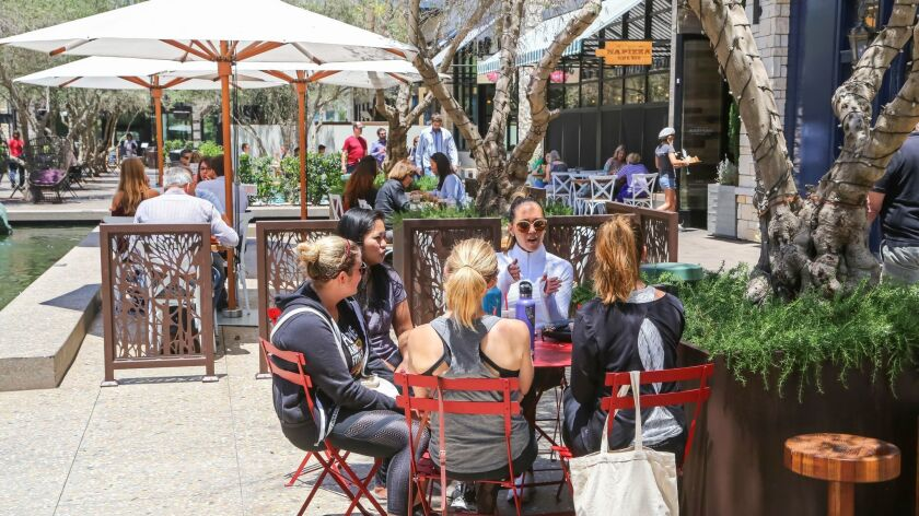 SAN DIEGO, CA June 28th, 2018 | Patrons enjoy the restaurant row area called The Pointe at the Westf