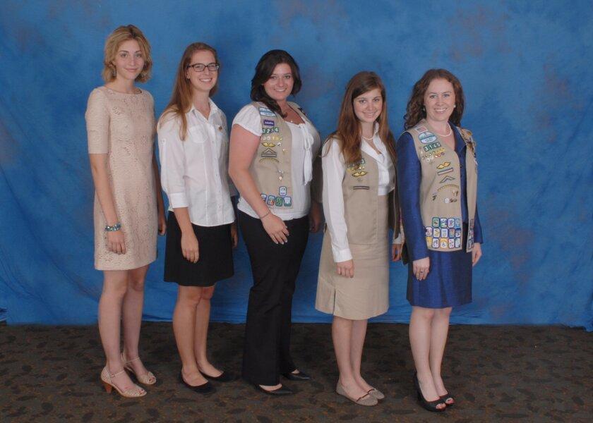 The Girl Scout Gold Award honorees, from left: Emily Hoge, Bay ByrneSim, Elyssa Kanter, Giulia Dugo and Nazaré Simas. Courtesy
