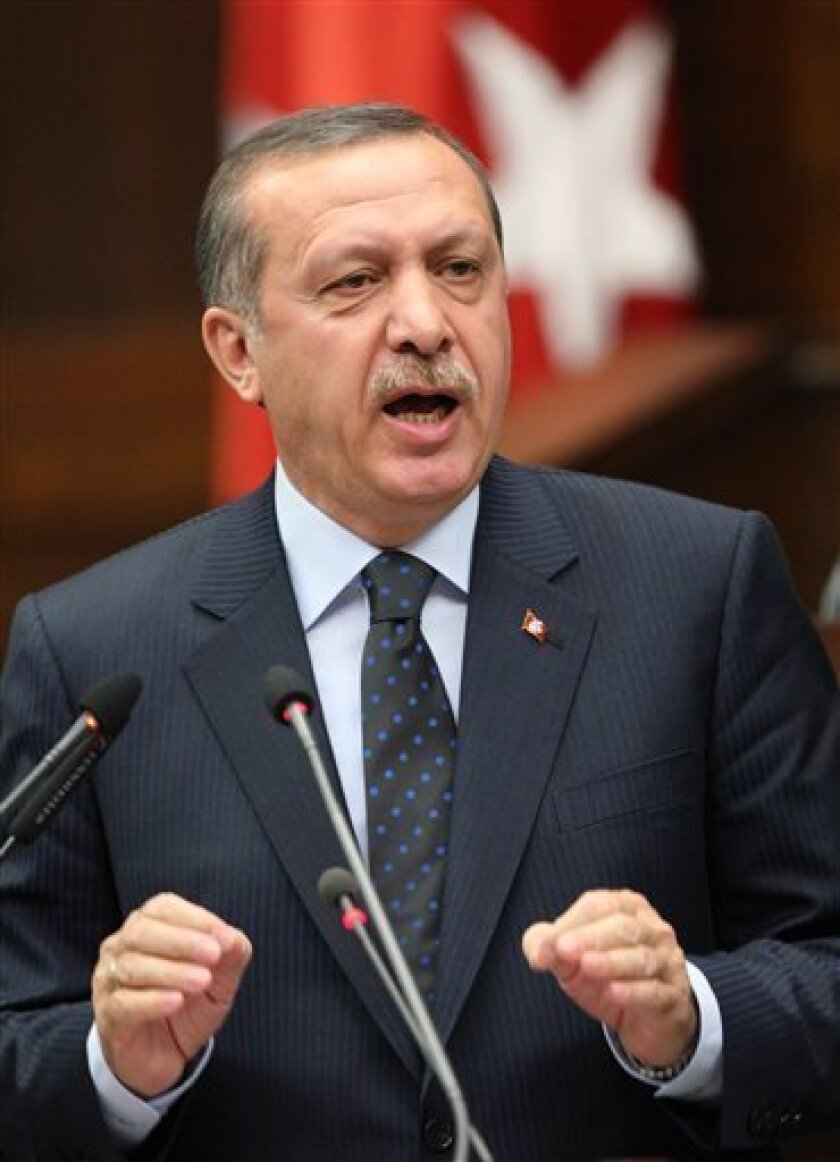 Turkish Prime Minister Recep Tayyip Erdogan addresses lawmakers at the parliament in Ankara, Turkey, Tuesday, June 1, 2010, a day after Israeli naval commandos stormed a flotilla of ships carrying aid and hundreds of pro-Palestinian activists to the blockaded Gaza Strip, killing nine passengers in