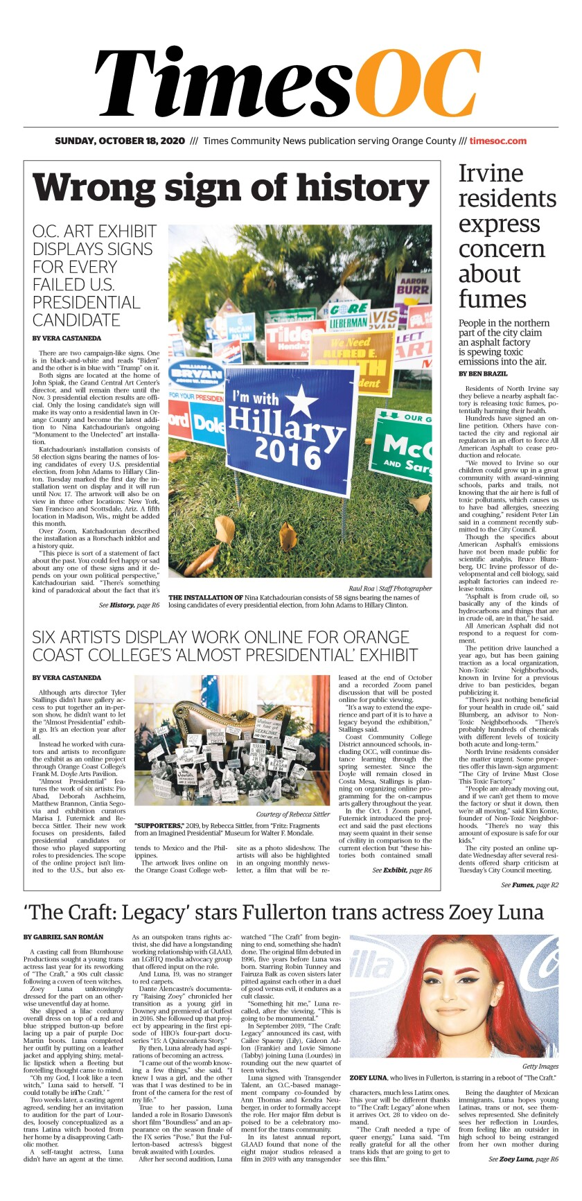 Front page of TimesOC e-newspaper for Sunday, Oct. 18, 2020
