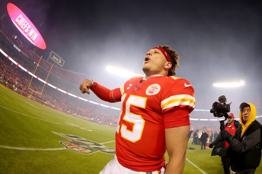 Chiefs quarterback Patrick Mahomes celebrates after a victory over the Texans on Jan. 12 to get back to the AFC championship game.