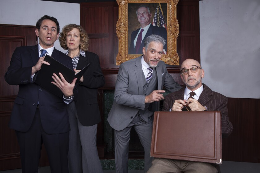 """Christopher M. Williams, Shana Wride, Louis Lotorto and John Seibert (from left) in North Coast Rep's """"The Outsider."""""""