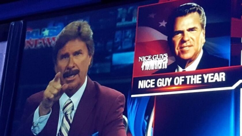 Ron Burgundy, legendary news anchor of film fame, emcees media tribute to KUSI-TV's Mike McKinnon Sr.