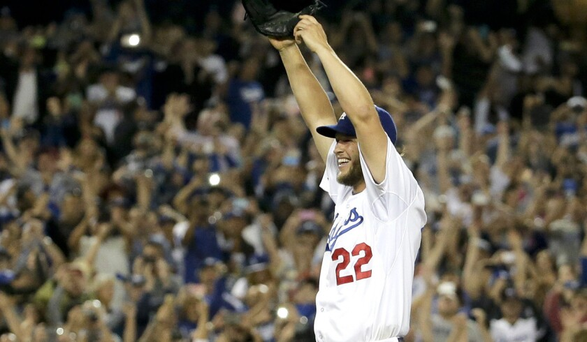Dodgers left-hander Clayton Kershaw reacts after recording the final out in his no-hitter against the Colorado Rockies on Wednesday night at Dodger Stadium.