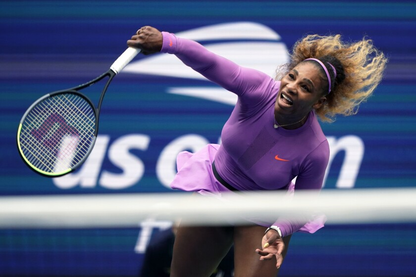 Serena Williams returns a shot during the final of the 2019 U.S. Open tennis championships in New York.