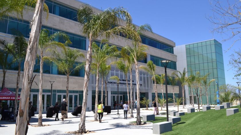 Entrance to Palomar College Rancho Bernardo Education Center. Summer session classes will begin on J
