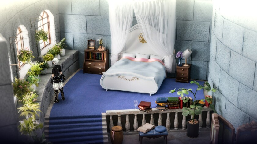 A diorama of a miniature bedroom in a castle with canopy bed, multiple plants and books.