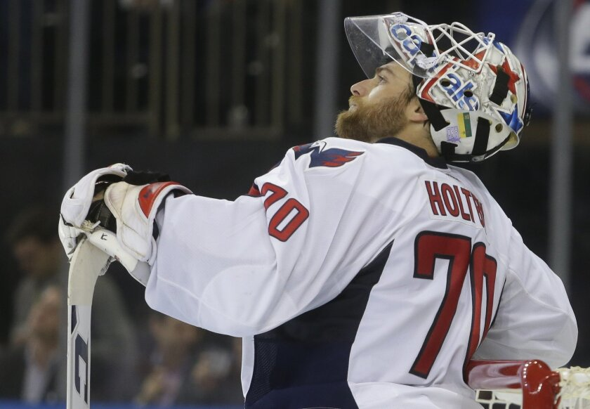 Washington Capitals goalie Braden Holtby (70) reacts after New York Rangers' Derick Brassard (16) scored a goal during the second period of an NHL hockey game Tuesday, Nov. 3, 2015, in New York. (AP Photo/Frank Franklin II)