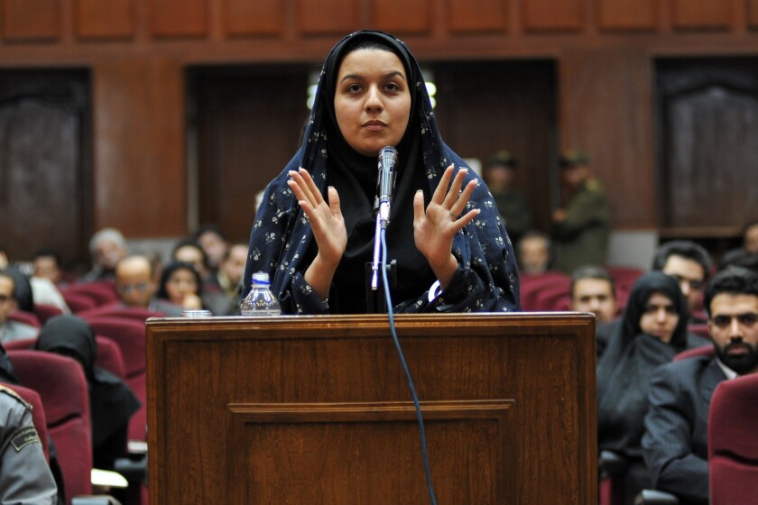 Reyhaneh Jabbari on trial in Tehran in December 2008.