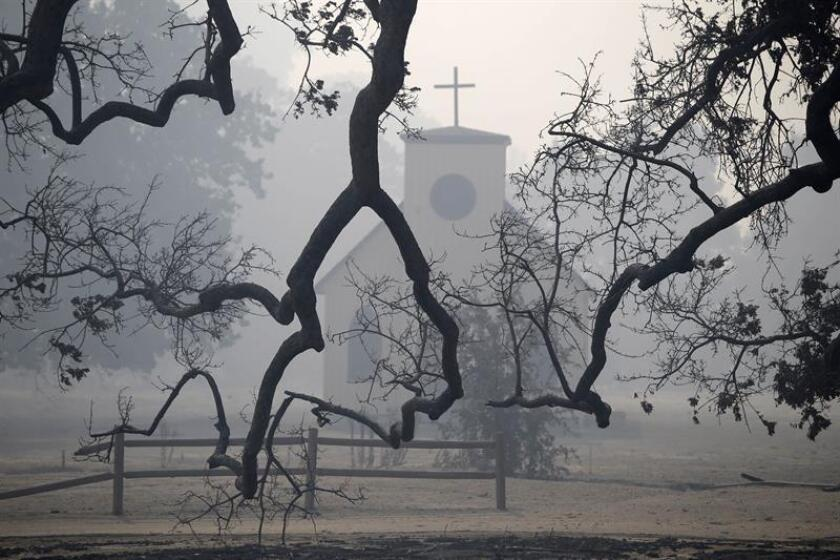 The church from The Western Town studio at Paramount Ranch is unscathed after the set was almost completely destroyed by the Woosley Fire in Malibu, California, USA. EFE/EPA