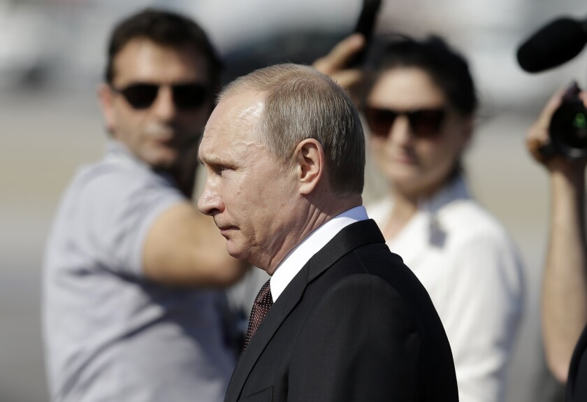 Russian President Vladimir Putin at the Athens international airport on May 27.