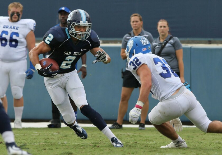 USD wide receiver Brian Riley, pictured here in a game earlier this season, had two touchdown catches on Saturday against Butler.