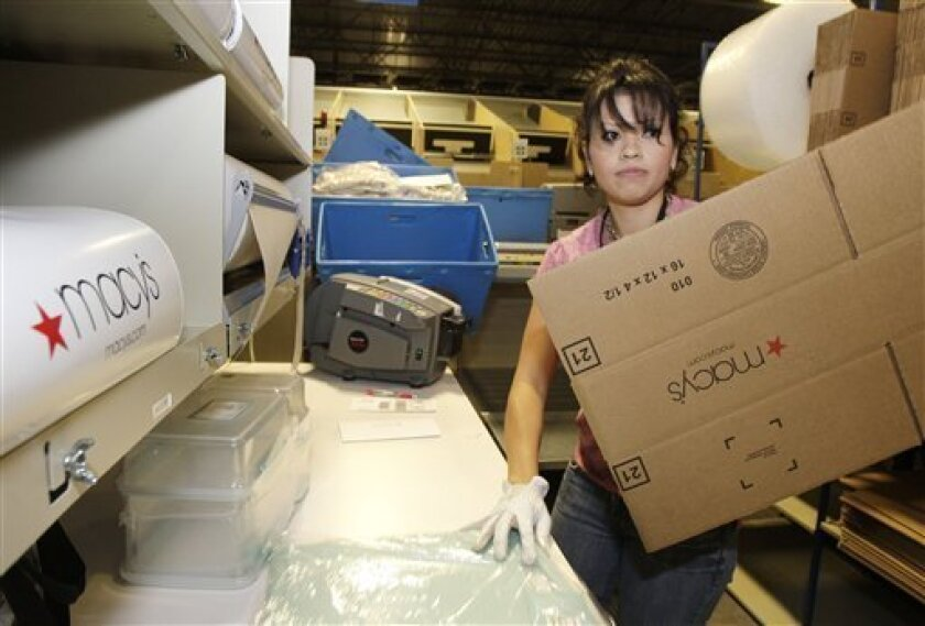 In this Dec. 15, 2009 photo, Lorena Tena, of Phoenix, prepares to fill an order at the Macy's Fulfillment Cente in Goodyear, Ariz. Productivity in the final three months of last year surged at a faster pace than previously thought as labor costs fell more rapidly.(AP Photo/Ross D. Franklin)