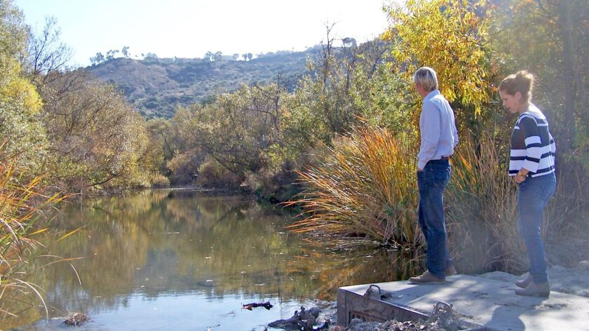 Laguna Canyon Foundation board member Derek Ostensen, left, and Hallie Jones, the foundation's executive director, are working on an alternative restoration plan for a 5-mile section of the Aliso Creek watershed.