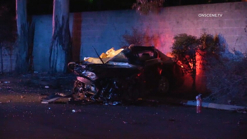 A motorist died early Monday when he crashed into a tree in La Mesa as police were pursuing him.
