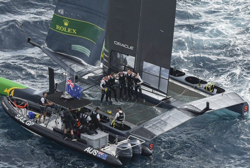 Australia celebrate their victory in the Grand Final match race. Race Day 3. The final SailGP event of Season 1 in Marseille, France, Sunday, Sept. 22, 2019. (Jon Buckle/SailGP via AP)
