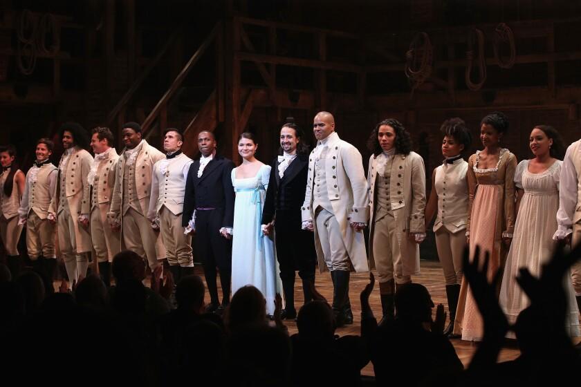 """Hamilton"" cast on stage"