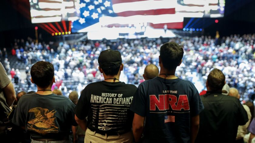 A variety of T-shirts seen at the NRA-ILA Leadership Forum in May at the Kay Bailey Hutchison Convention Center Arena in Dallas.