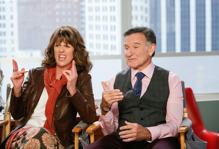 "Robin Williams acted again with his ""Mork & Mindy"" costar, Pam Dawber, when she did a guest spot on ""The Crazy Ones."""