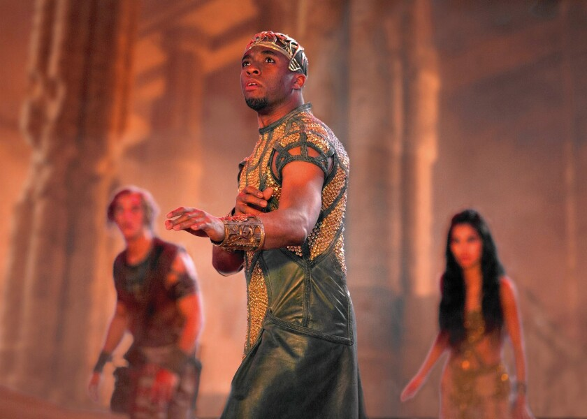 """Chadwick Boseman in """"Gods of Egypt,"""" a special-effects-driven movie that cost $140 million to make."""