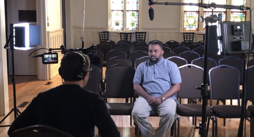 """The Rev. Billy M. Honor is interviewed by producer Casey Cooper Johnson in a scene from """"Suppressed: The Fight to Vote."""""""